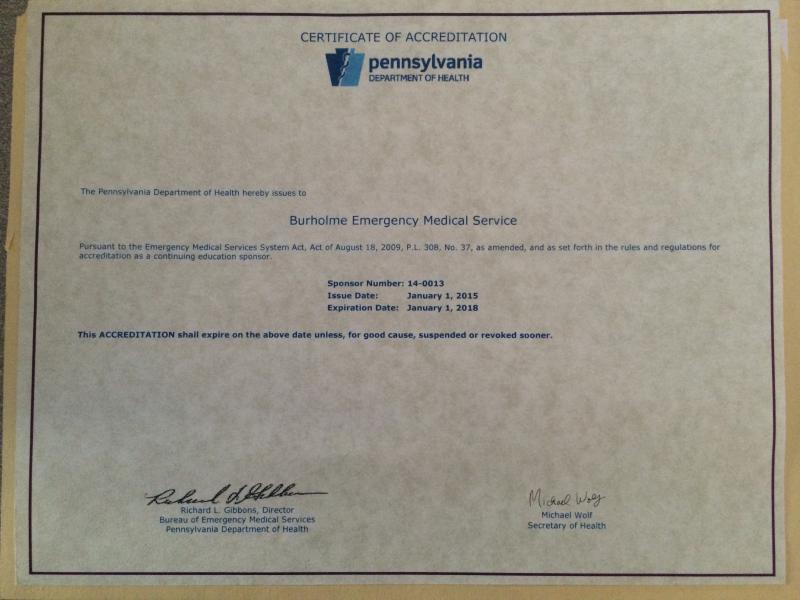Accreditation From The Pa Dept Of Health Bureau Of Ems Continuing